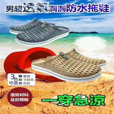 男款超透氣速乾洞洞鞋(拖鞋款) (2.2折)