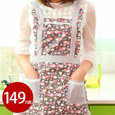 韓版田園風純棉雙層圍裙 顏色隨機【AE02414】 (3.7折)