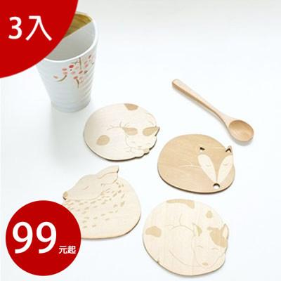 原木仿真動物造型杯墊3入 (款式隨機)【AP02026-3】 (3.3折)