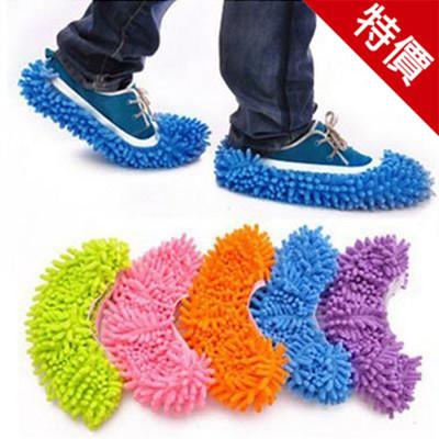 雪尼爾拖地鞋腳套 懶人 運動 拖地鞋套 拖把套 (顏色隨機)【AE07041】 (3.3折)