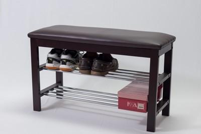 大摩家 典雅實木穿鞋椅(咖/米白) 鞋架 鞋櫃 玄關椅 寬80 x 深30 x 高45 公分 (7折)