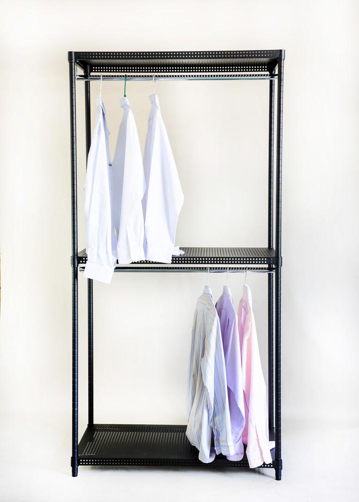 thihpang 沖孔鋼板 雙桿 三層 衣櫥架 寬90 x 深45 x 高180 公分 衣架 衣櫥