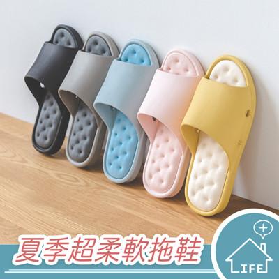 【生活普拉斯】 超柔軟舒適 居家拖鞋 EVA 橡膠 鞋底 防滑 浴室拖鞋 室內拖鞋 【A166】 (3.7折)