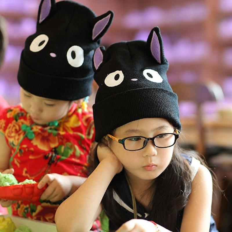 兒童秋冬外貿貓咪針織線帽親子童帽寶寶帽子男女寶毛線套頭造型1入 -