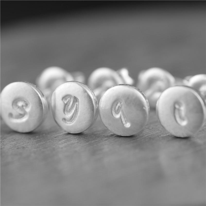 手工定制定制字母耳釘 純銀s990 個性獨特男女生日禮物情人節歐美1入 -