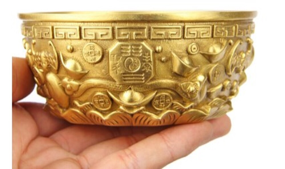 樸器銅一碗聚寶盆擺件加厚聚寶盆