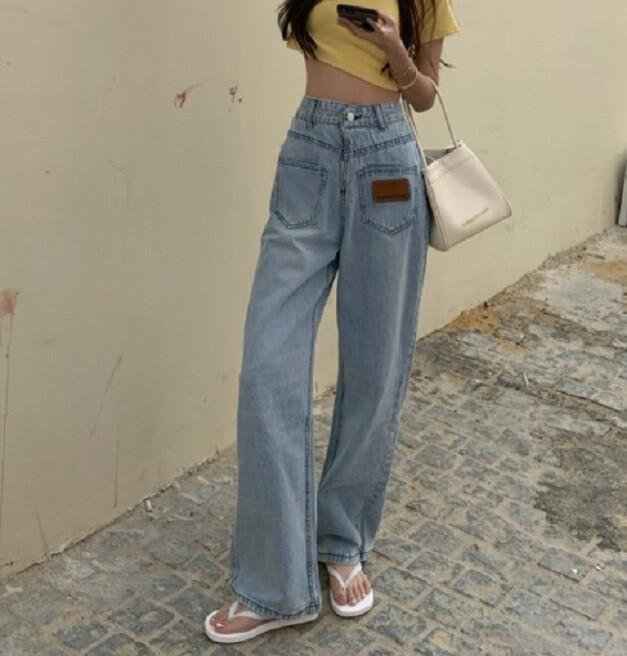 高腰新款寬鬆工裝牛仔直筒褲