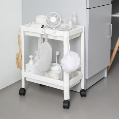 簡約小巧落地式雙層置物架學生宿舍浴室收納帶輪掛鉤可移動小推車 - (10折)