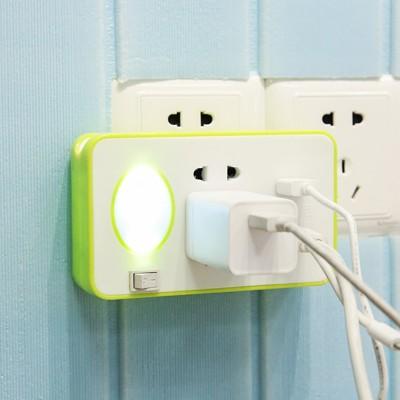 多功能led小夜燈開關插座面板多用手機支架usb充電插座無線電排插1入 - (10折)