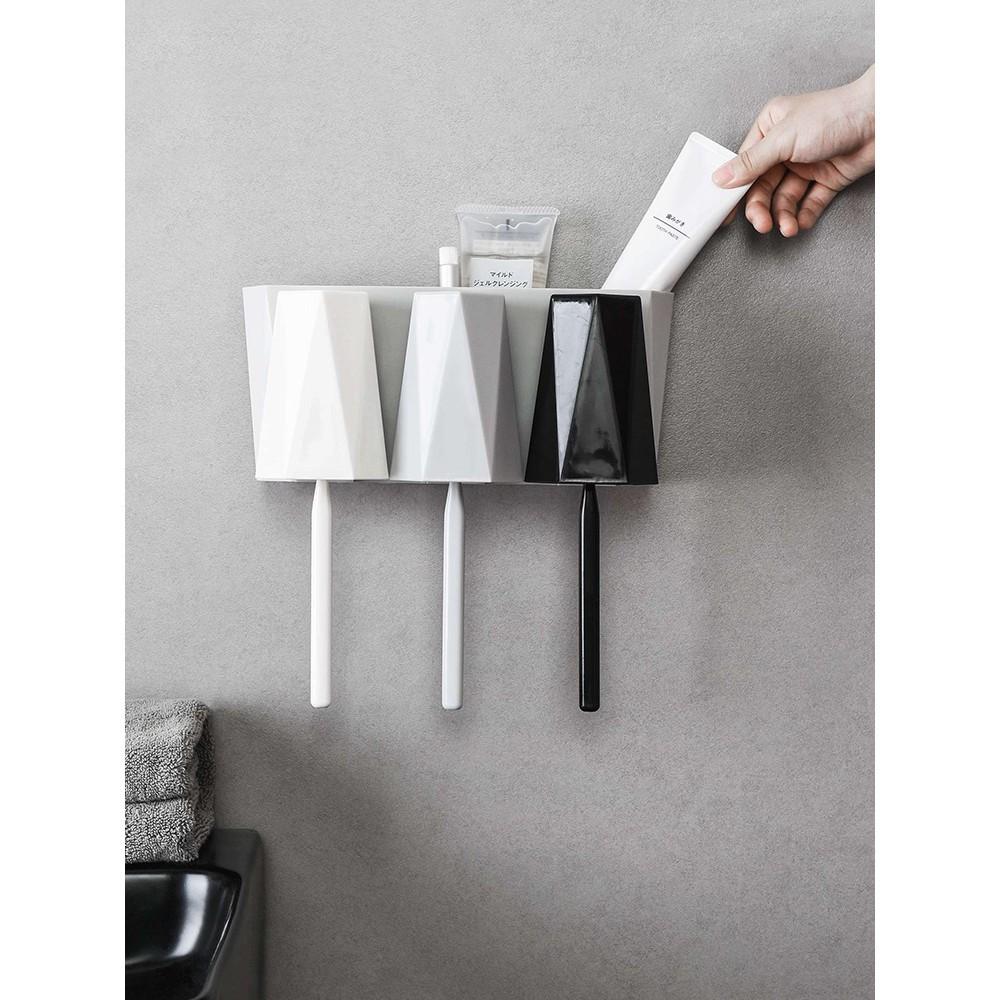 居家家壁掛牙刷架漱口杯套裝浴室牙膏架家用牙刷收納架牙具置物架 -
