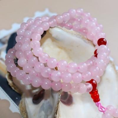 天然粉水晶108顆手鏈馬達加斯加玉髓佛珠手串紅瑪瑙母親節禮物1入 - (10折)