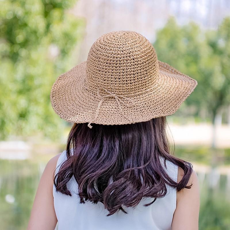 草帽女夏天太陽帽大沿可折疊卷邊遮陽帽出游沙灘帽蝴蝶結休閑涼帽1入 -
