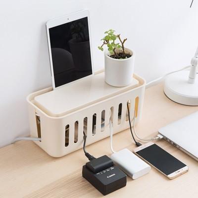 居家家桌面插座電線收納盒電源線整理盒子插線板集線盒固定理線盒 -