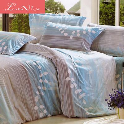 【Luna Vita】雙人台灣製造舒柔棉 床包被套四件組-悠然情調 (3.5折)