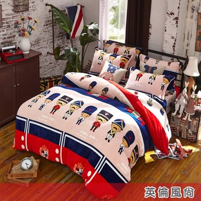 法蘭絨單人兩用被鋪棉床包組 (4.3折)