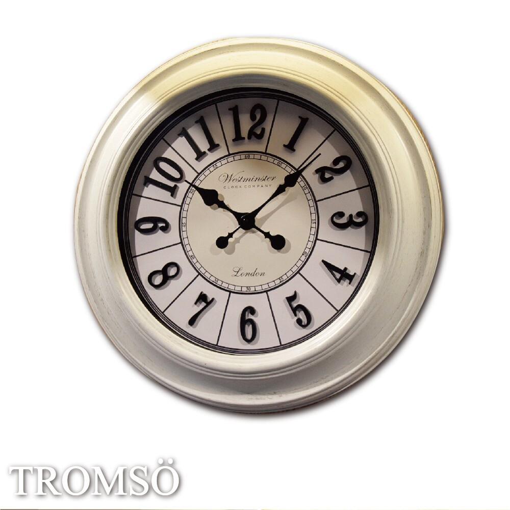 tromso法式香榭-巴黎典藏立體字刷白時鐘(現+預)/57x57大掛鐘 圓弧 室內設計