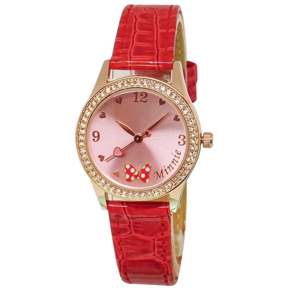迪士尼素面簡約玫瑰金水鑽手錶(正版授權)