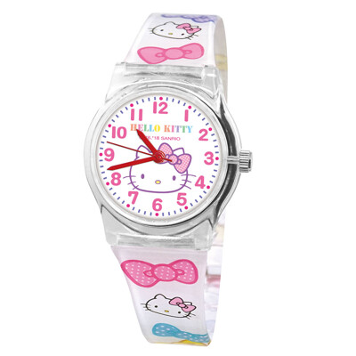 【Sanrio三麗鷗】Hello Kitty淨白兒童手錶(中膠/正版授權) (6.8折)