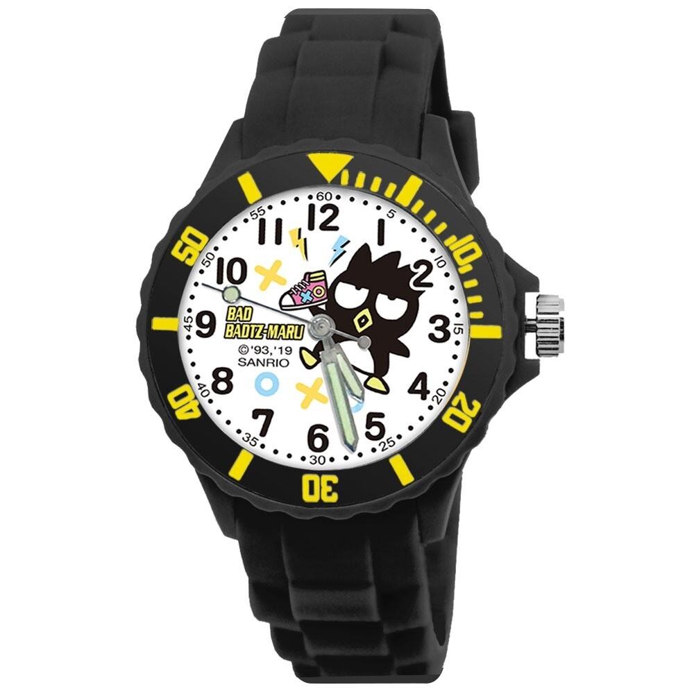 三麗鷗酷企鵝 運動彩帶手錶_黑(正版授權/中型)