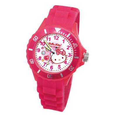 【三麗鷗Sanrio】桃紅寶石Hello Kitty 兒童運動彩帶手錶(正版授權) (9.4折)
