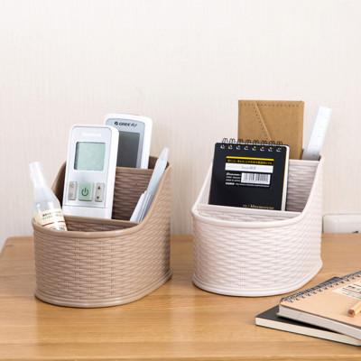 日式竹編紋感桌面整理分格收納盒 (1.9折)