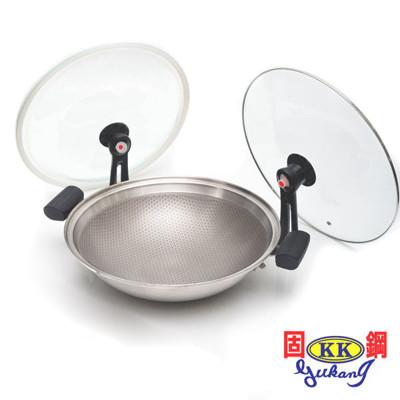 固鋼 304不鏽鋼節能炒菜鍋 氣密不沾鍋36cm 適用電磁爐 (4.1折)