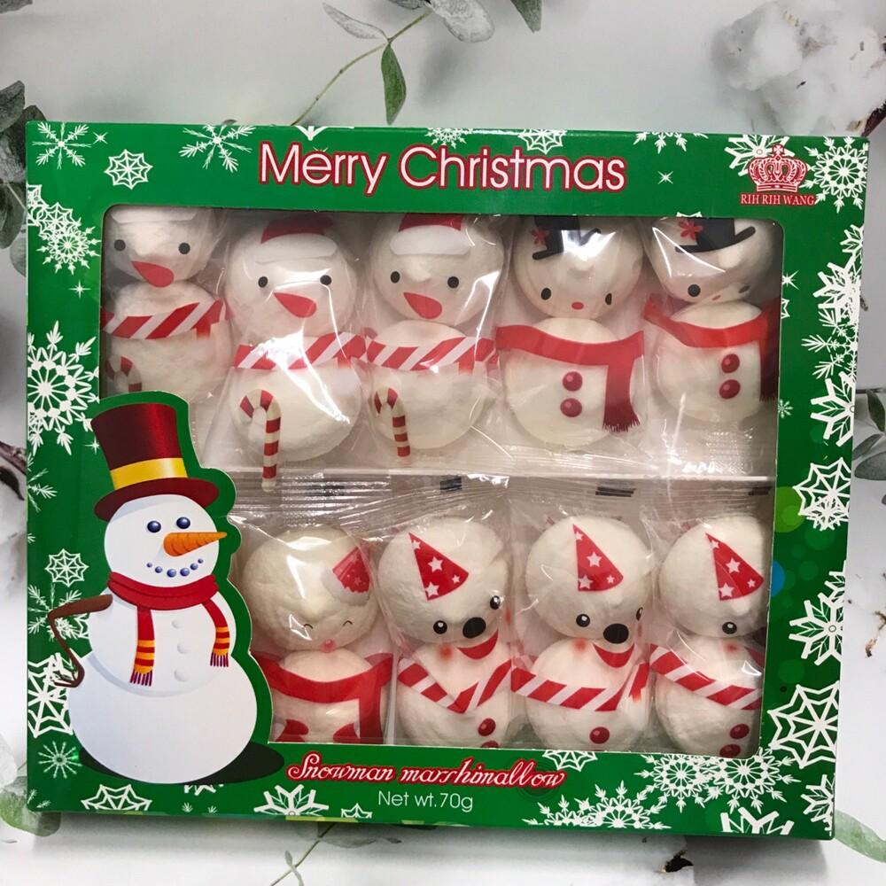 潼漾小舖 聖誕雪人棉花糖 70g 香草口味一盒10個雪人