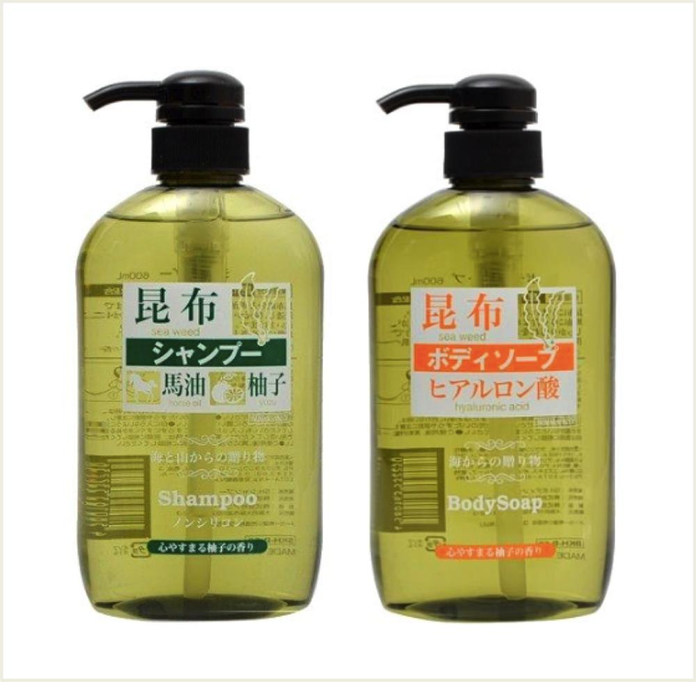 潼漾小舖 kumano 熊野油脂 昆布馬油 沐浴乳/洗髮精 600ml