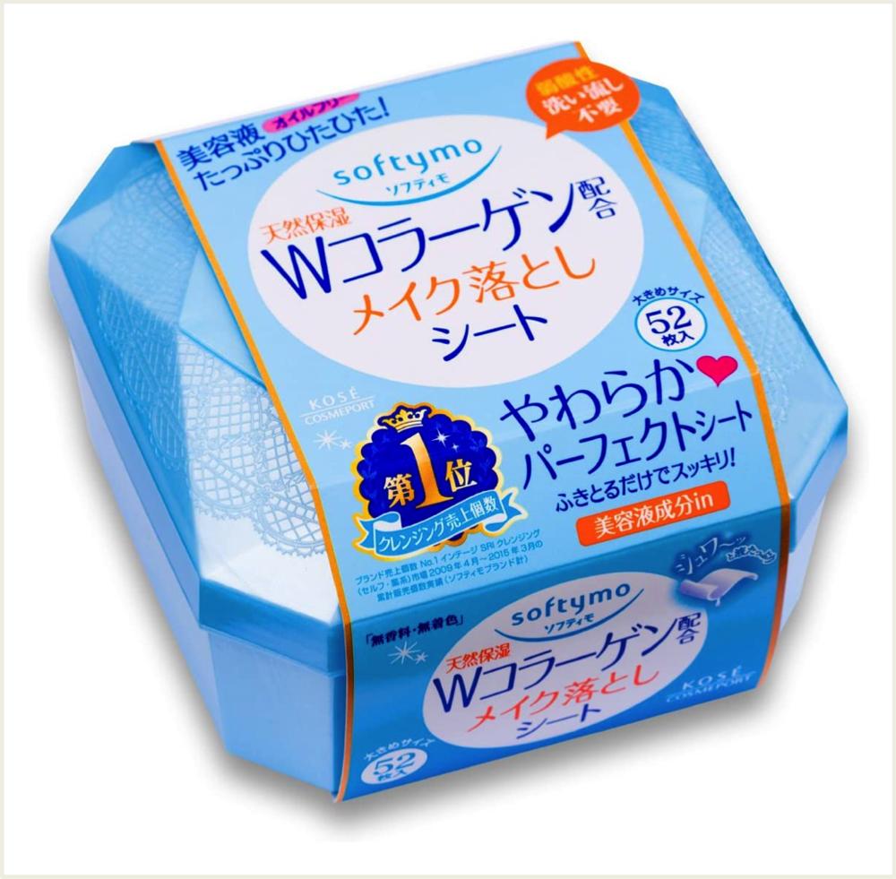 潼漾小舖 日本 kose 高絲 softymo 膠原蛋白卸妝濕巾 52枚入
