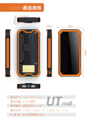 【超強大馬力】20000mah太陽能行動電源 大容量蘋果安卓通用 電池 可當露營燈#655 (4.5折)