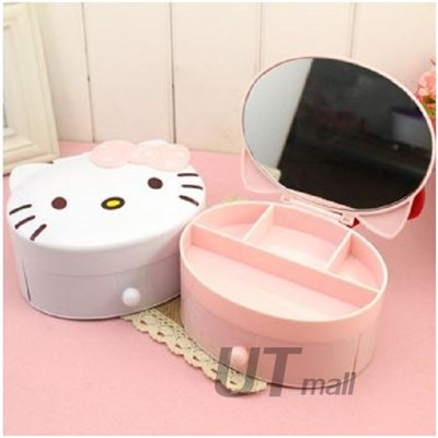 hello Kitty 雙層 抽屜式 翻蓋首飾盒 +化妝鏡 化妝盒 (3.7折)