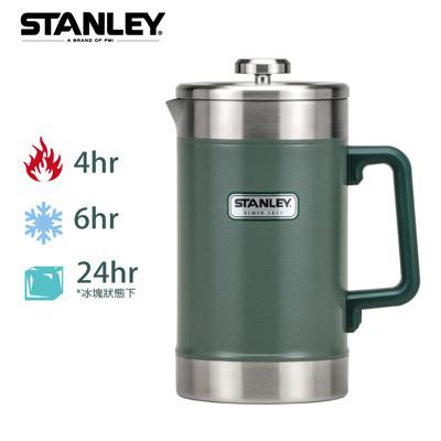 【美國Stanley】巨無霸保溫咖啡茶葉壓濾壺1.4L-錘紋綠 (8.9折)