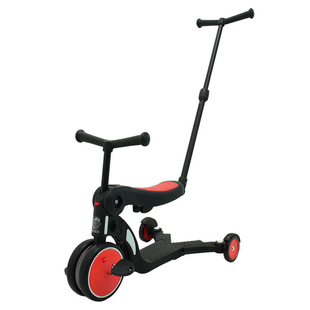 babybabe三合一平衡三輪車/滑步車/滑板車-紅色 ( 附推把 )