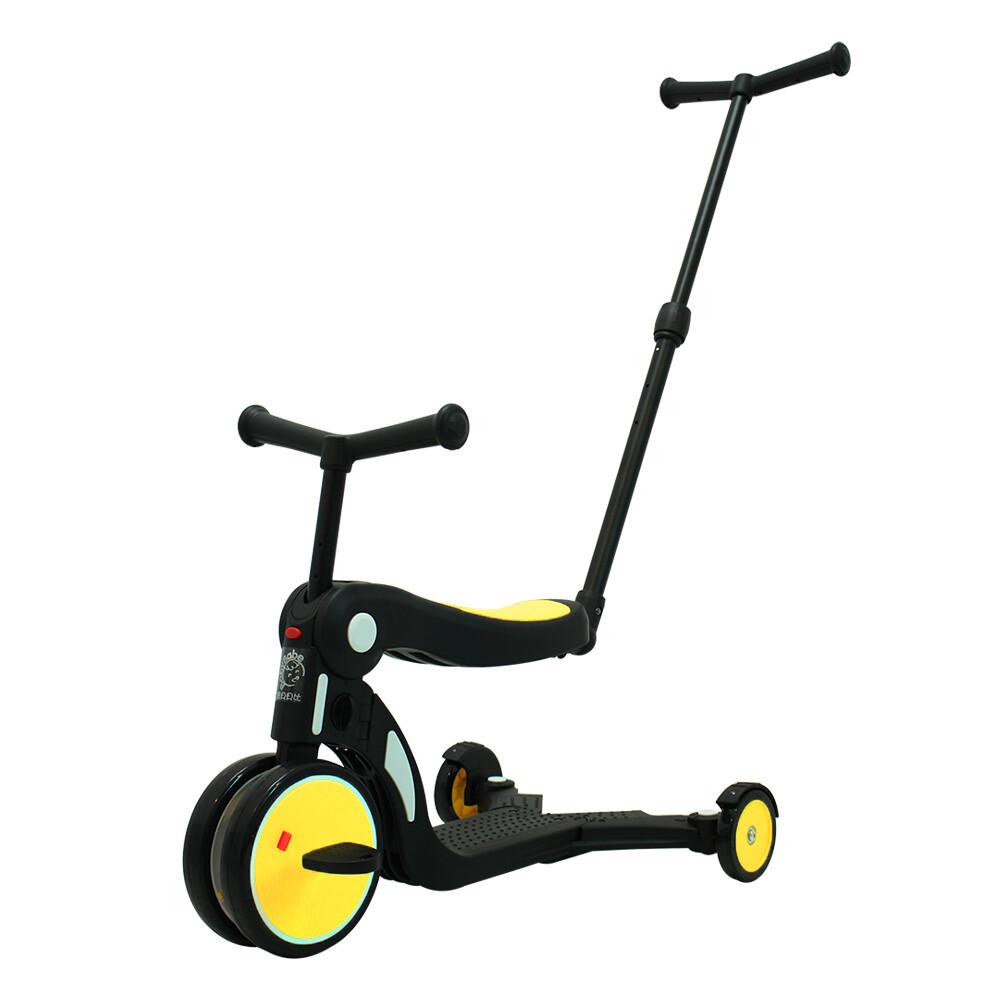 babybabe三合一平衡三輪車/滑步車/滑板車- 黃色 ( 附推把 )