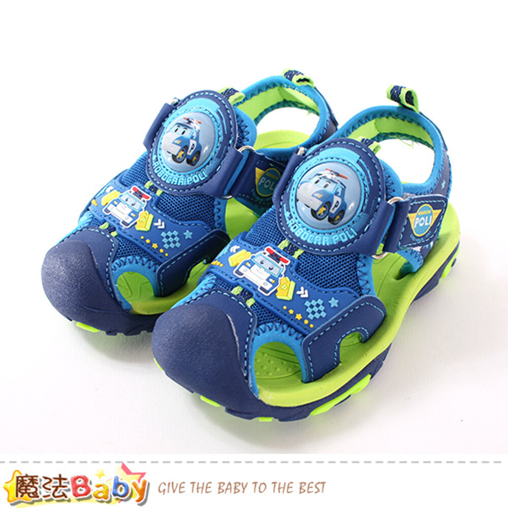 男童鞋 poli授權正版波力款護趾閃燈運動涼鞋 魔法baby sa91106
