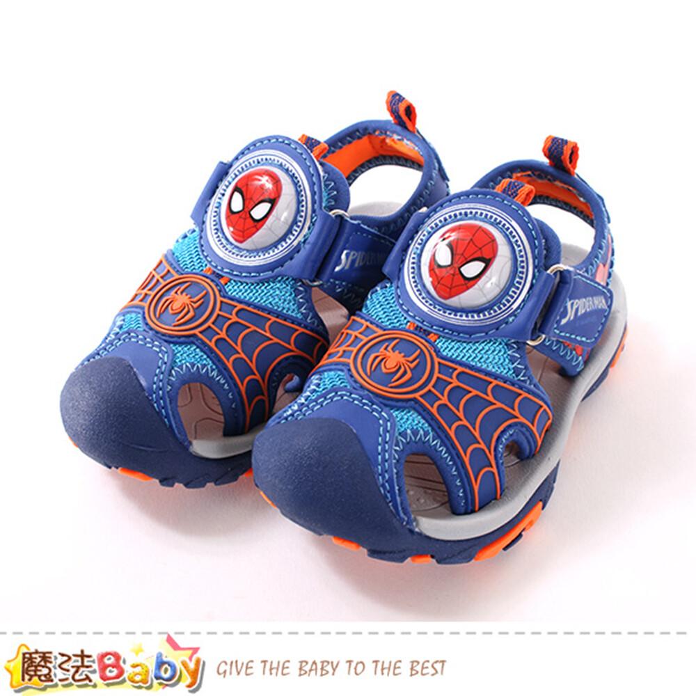 男童鞋 蜘蛛人授權正版護趾閃燈運動涼鞋 魔法baby sa99166
