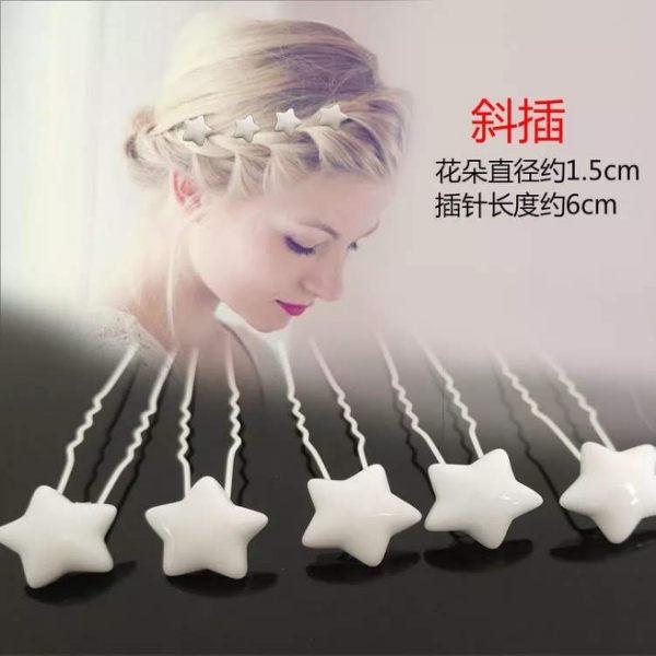 韓國珍珠水鑽髮插髪飾斜插星星單支價格(10入)