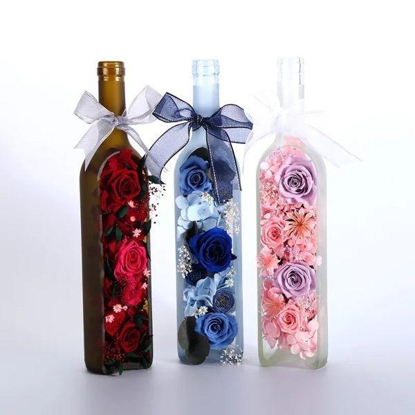 永生花酒瓶造型婚禮擺設採用進口花材附高級禮盒