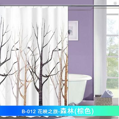 LISAN頂級加厚防水浴簾-花映之旅B-012 森林 棕色 (4.3折)