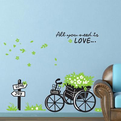 A-007創意生活系列-環保花車 大尺寸高級創意壁貼 / 牆貼 (5.4折)