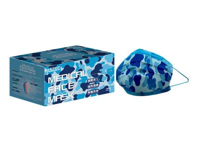 萊潔 醫療防護成人口罩-天藍迷彩(50入/盒裝)(衛生用品,恕不退貨,無法接受者勿下單) (10折)