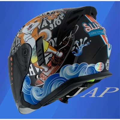 【JAP騎士精品】m2r  fr-2 安全帽 fr2 #3 柴犬 消光黑  內襯可拆 內藏墨鏡 半罩 (7.1折)