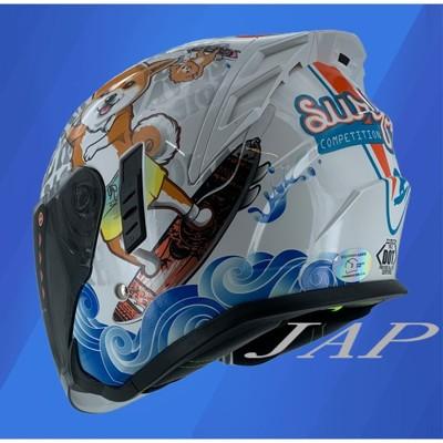 【JAP騎士精品】m2r  fr-2 安全帽 fr2 #3 柴犬 珍珠白  內襯可拆 內藏墨鏡 半罩 (7.1折)