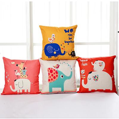 大象派對 卡通風棉麻抱枕(45cm×45cm) 多款任選 (4.6折)