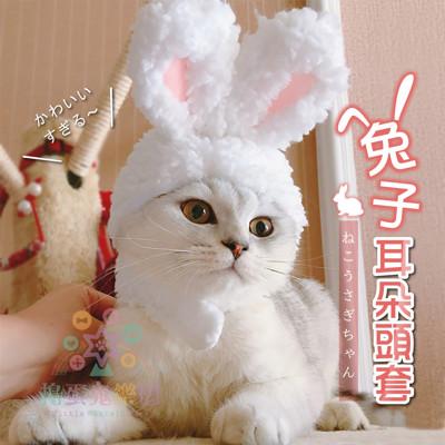 《搗蛋鬼樂園》貓咪/狗狗可愛兔子頭套(抖音同款) 保暖頭套 小耳朵帽子 寵物帽 搞怪帽 貓咪假髮 狗 (3折)