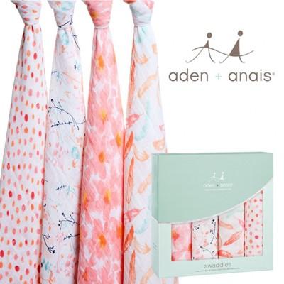 美國Aden+Anais 輕鬆抱寶寶包巾(四入裝) 春櫻花語款2067 (9.1折)