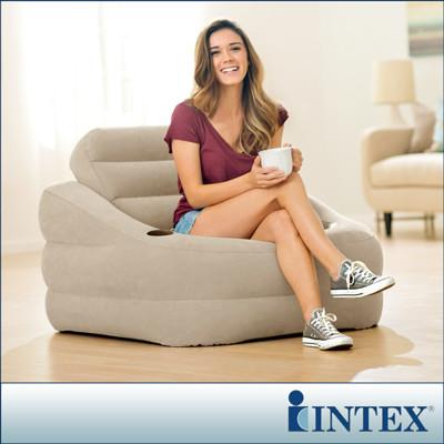 【INTEX】歐式充氣沙發-褐灰色(68587)+LIFECODE 110V幫浦 (7.4折)