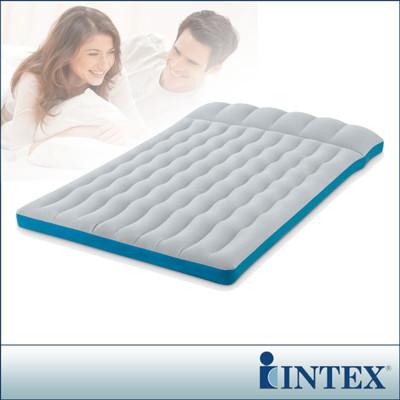 【INTEX】雙人野營充氣床-寬127cm(灰藍色)(67999)+110V家用幫浦(66619E) (7.4折)