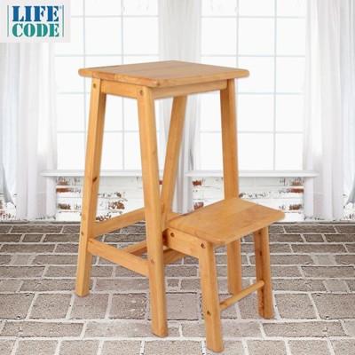 【LIFECODE】白橡木實木兩用梯凳椅/吧台椅/高腳椅 LC138 (7折)