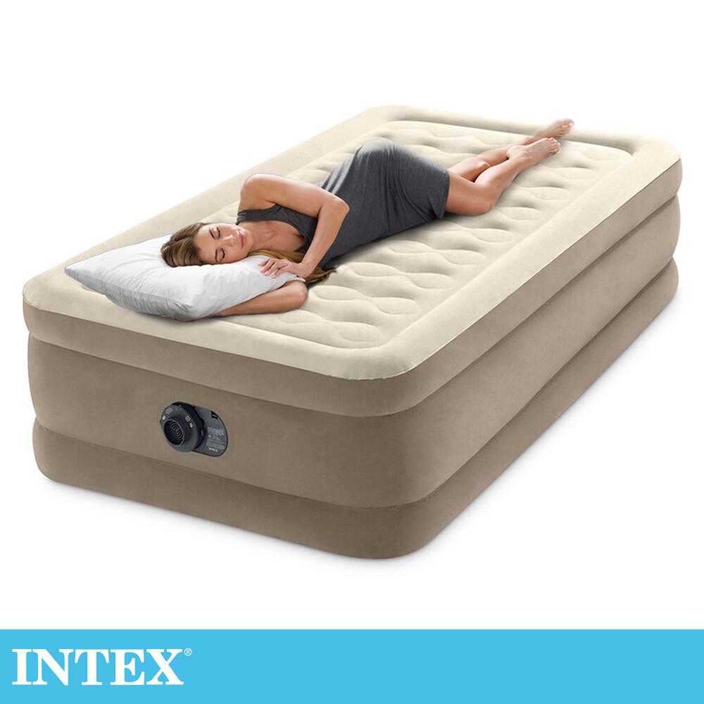 限時特價intex超厚絨豪華單人加大充氣床-寬99cm(內建幫浦)(64425)